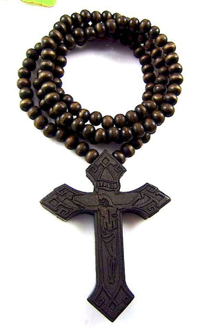 Wooden Cross Pendant Necklace