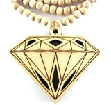 Diamond Wooden Necklace