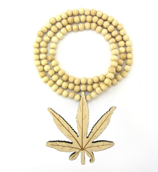 Wooden Marijuana Leaf Necklace