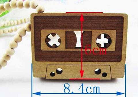 Wooden Cassette Tape Necklace
