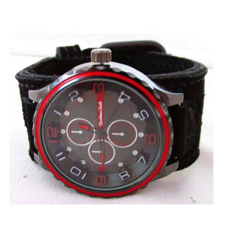 "Black on Black Suede Leather Red 3D Watch - 6.5-7.5"" Wrist - Power Collection by Barbell 1"