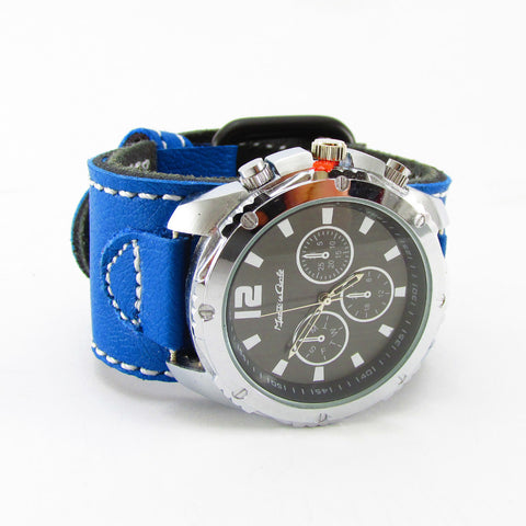 "Blue & White Top Grain Leather Silver Watch - 6.5-7.5"" Wrist - Power Collection by Barbell 1"