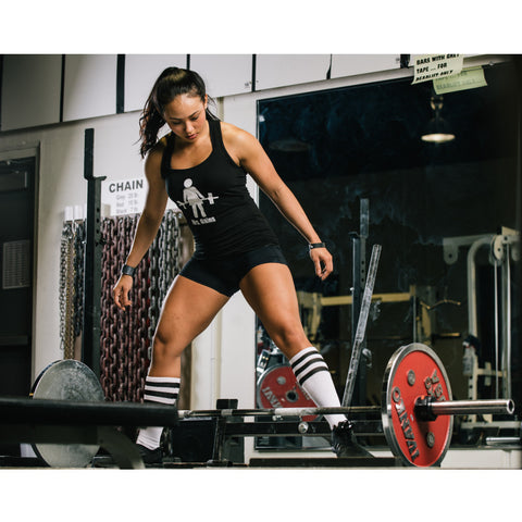 Mrs. Gains Deadlifting & Overhead Press (OHP) Barbell 1 Soft Black Ladies Muscle Tees & Raceback Tanks