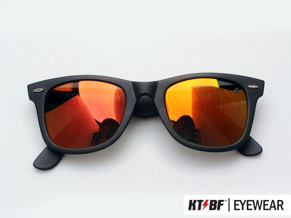 KTBF™ | SHIELD polarized sunglasses - Matte Black / Orange Yellow Mirror