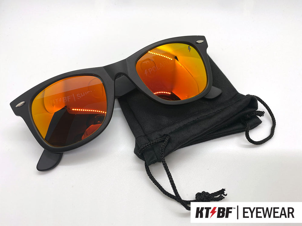 KTBF™ | SHIELD polarized sunglasses - Matte Black / Red Orange Mirror