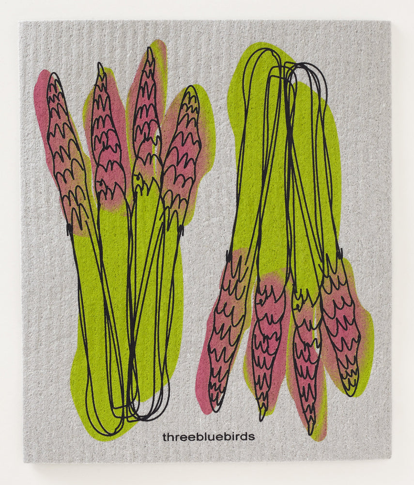 Load image into Gallery viewer, Asparagus on Grey Swedish Dishcloth