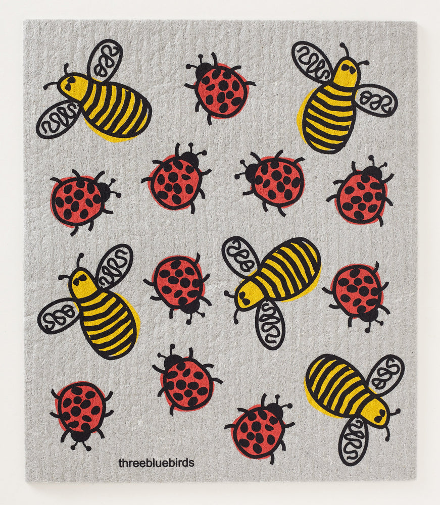 Load image into Gallery viewer, Bees & Bugs on Grey Swedish Dishcloth