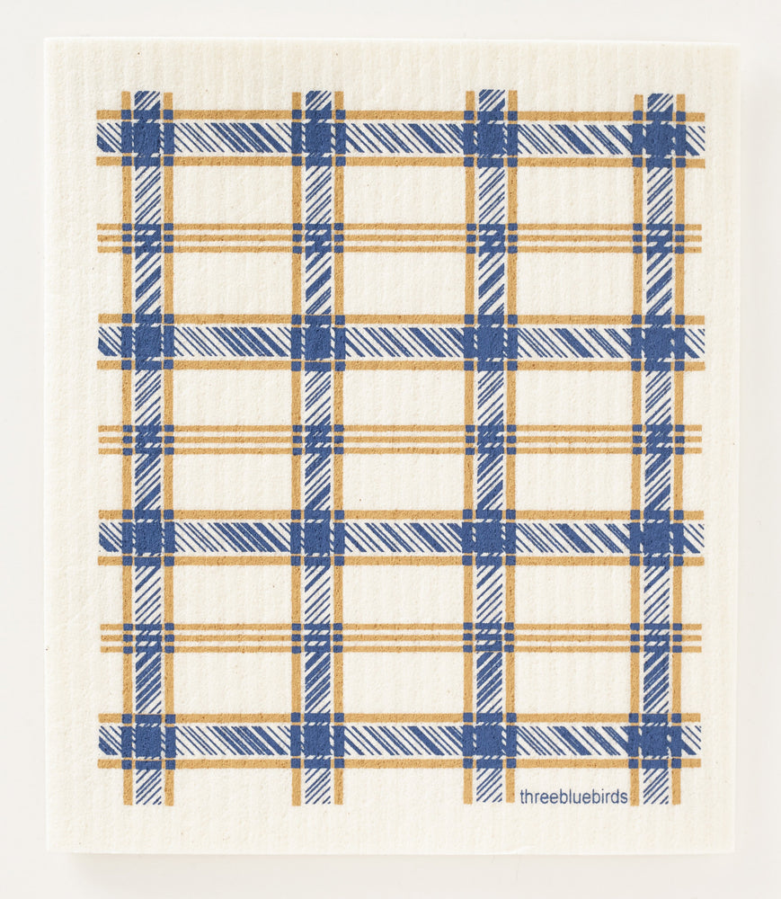 Load image into Gallery viewer, Blue Plaid Swedish Dishcloth