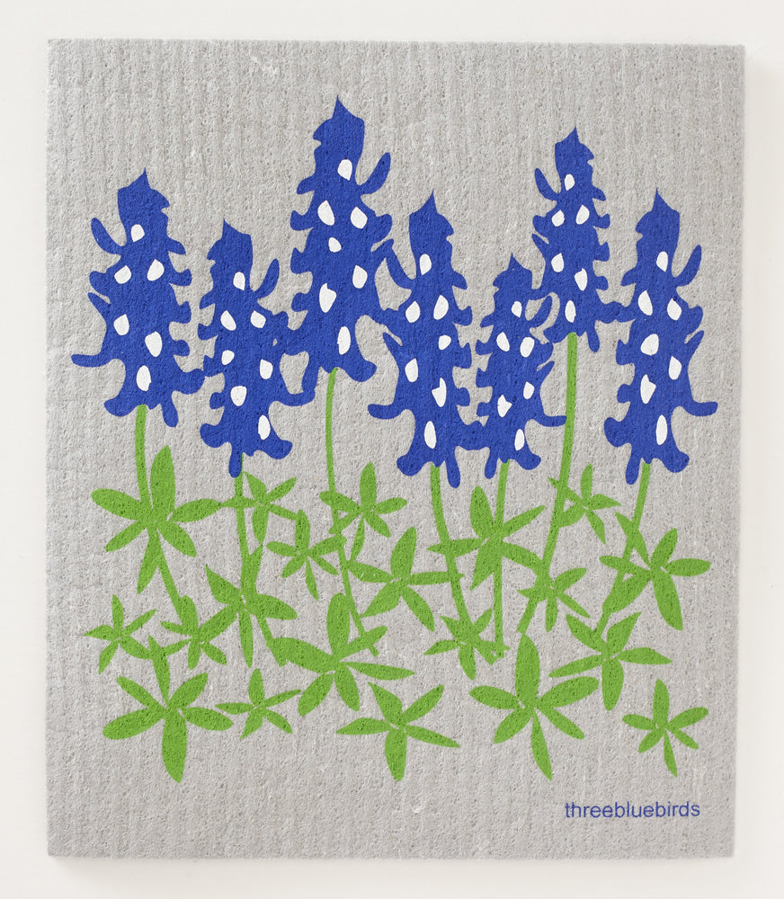 Load image into Gallery viewer, Bluebonnets on Grey Swedish Dishcloth