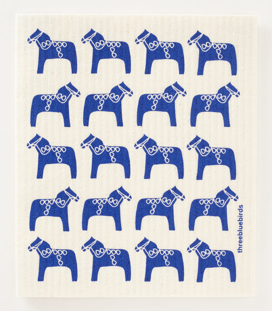 Blue Dala Horse Swedish Dishcloth