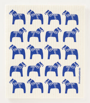 Load image into Gallery viewer, Blue Dala Horse Swedish Dishcloth