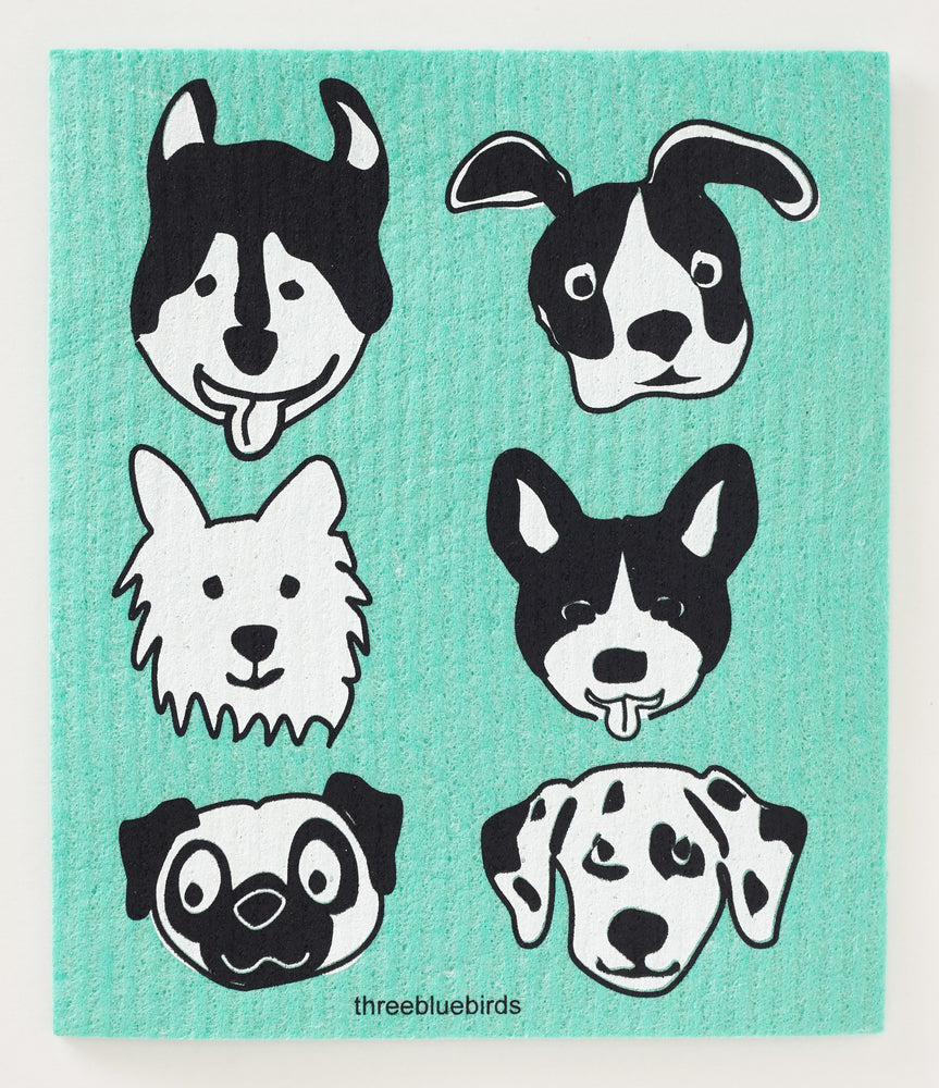 Bow Wow on Green Swedish Dishcloth