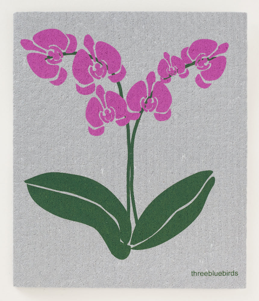 Load image into Gallery viewer, Orchids on Grey Swedish Dishcloth