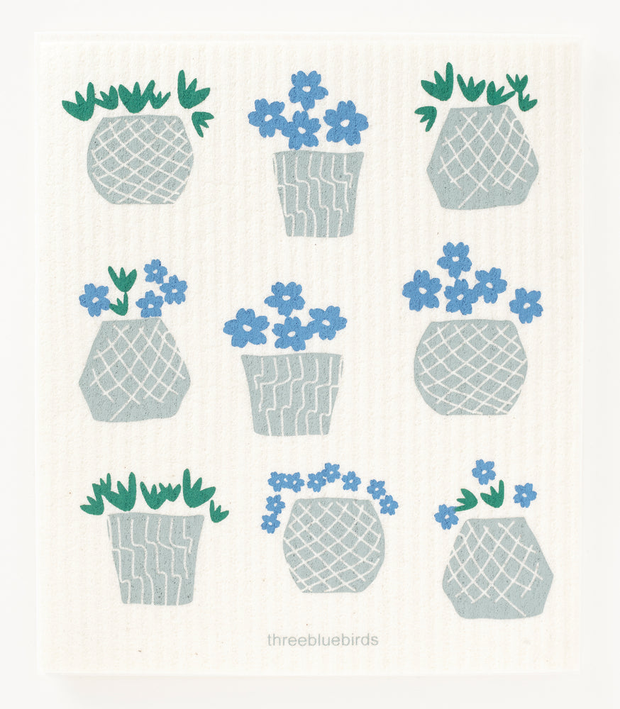 Load image into Gallery viewer, Flower Pots on White Swedish Dishcloth