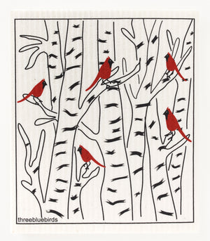 Load image into Gallery viewer, Winter Cardinals Swedish Dishcloth