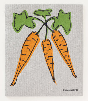 Load image into Gallery viewer, Carrots on Grey Swedish Dishcloth