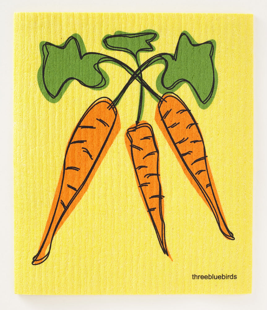 Load image into Gallery viewer, Carrots on Yellow Swedish Dishcloth