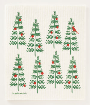Load image into Gallery viewer, Christmas Trees Swedish Dishcloth