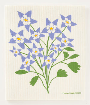 Columbine Flower Swedish Dishcloth