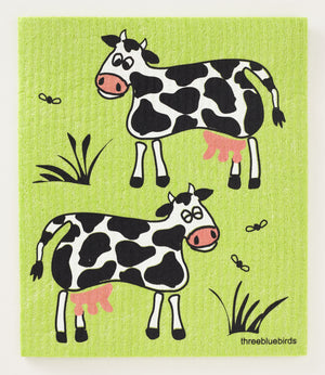 Load image into Gallery viewer, Cows on Green Swedish Dishcloth
