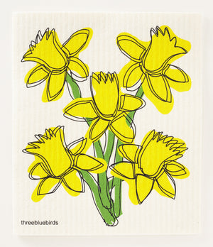 Load image into Gallery viewer, Daffodils Swedish Dishcloth