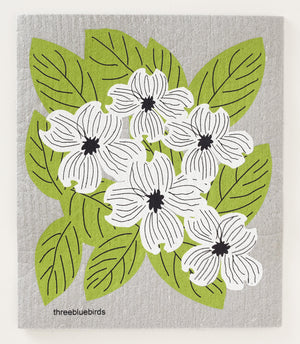 Dogwood on Grey Swedish Dishcloth