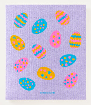Load image into Gallery viewer, Easter Eggs on Purple Swedish Dishcloth