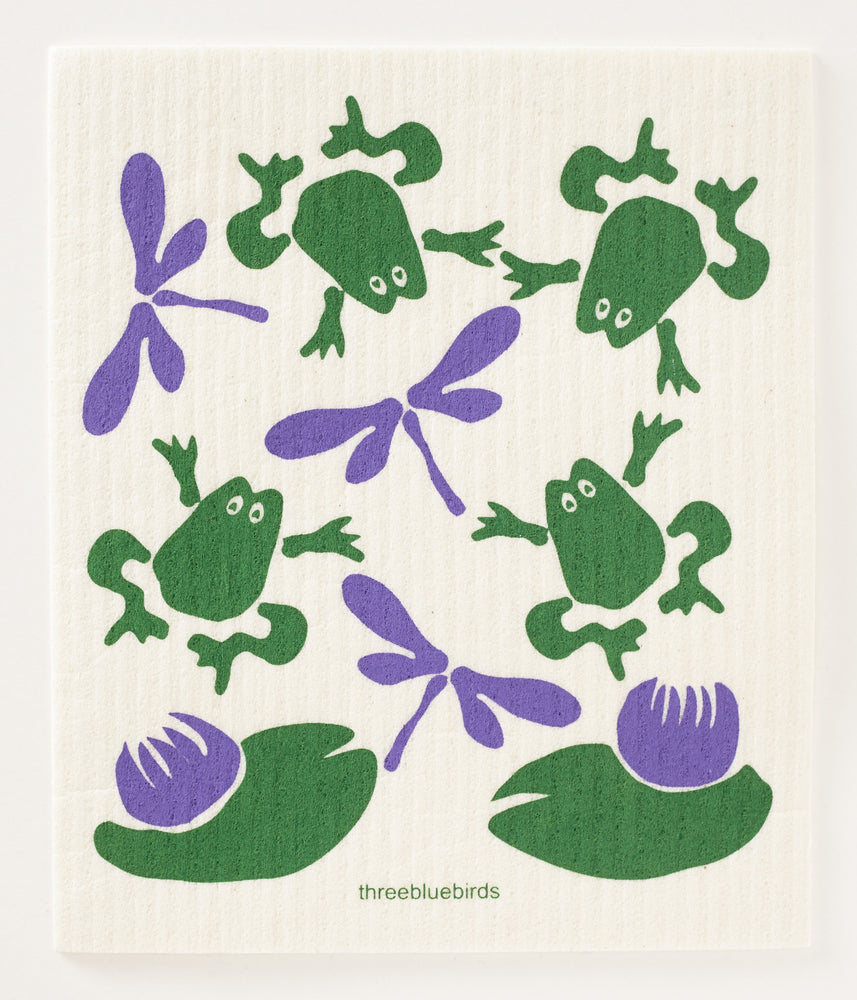 Load image into Gallery viewer, Frogs & Flies Swedish Dishcloth