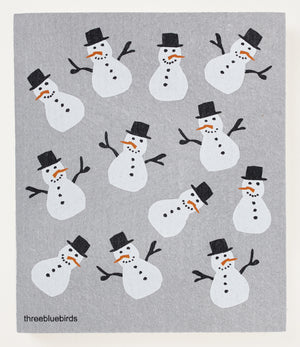 Load image into Gallery viewer, Frosty Friends on Grey Swedish Dishcloth
