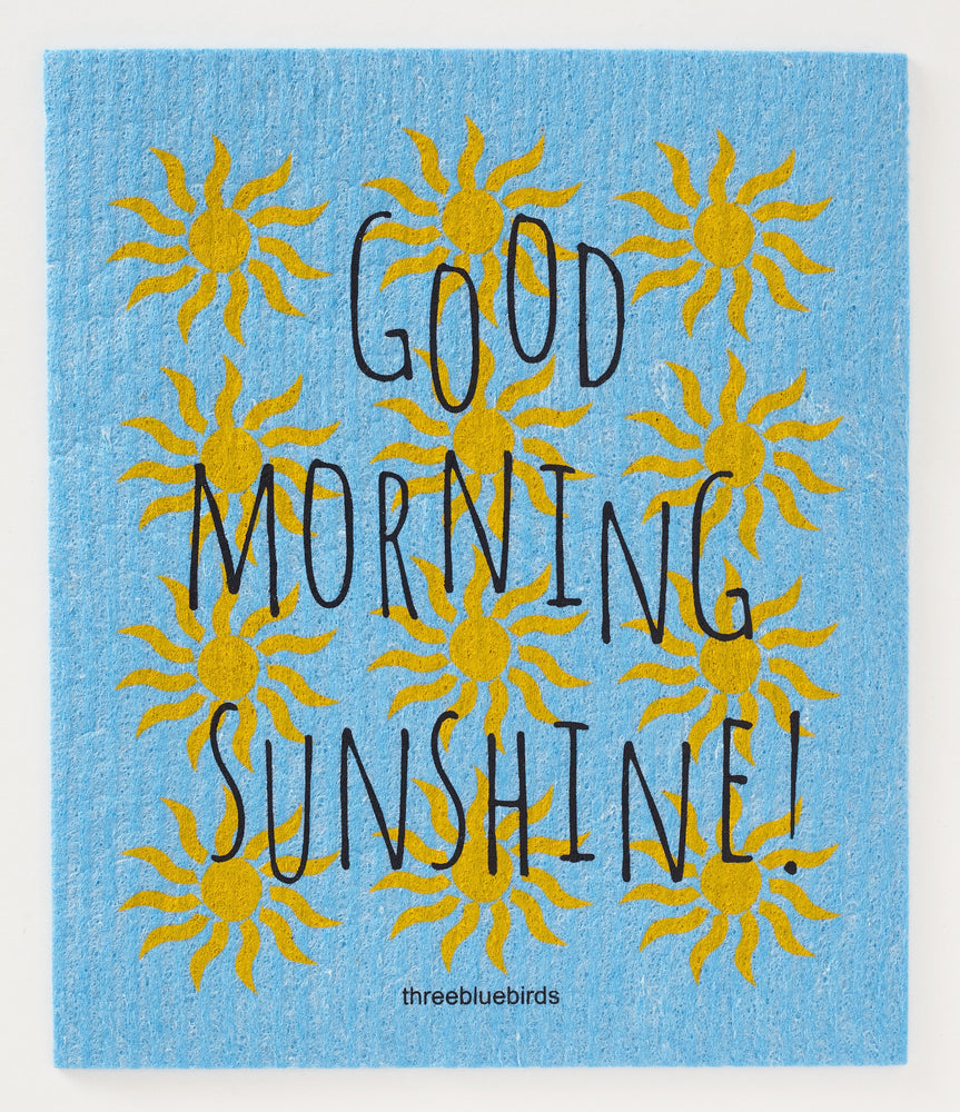 Good Morning Sunshine! on Blue Swedish Dishcloth