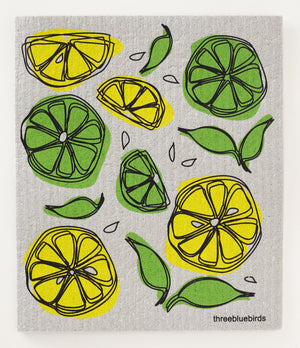 Lemon Limes on Grey Swedish Dishcloth