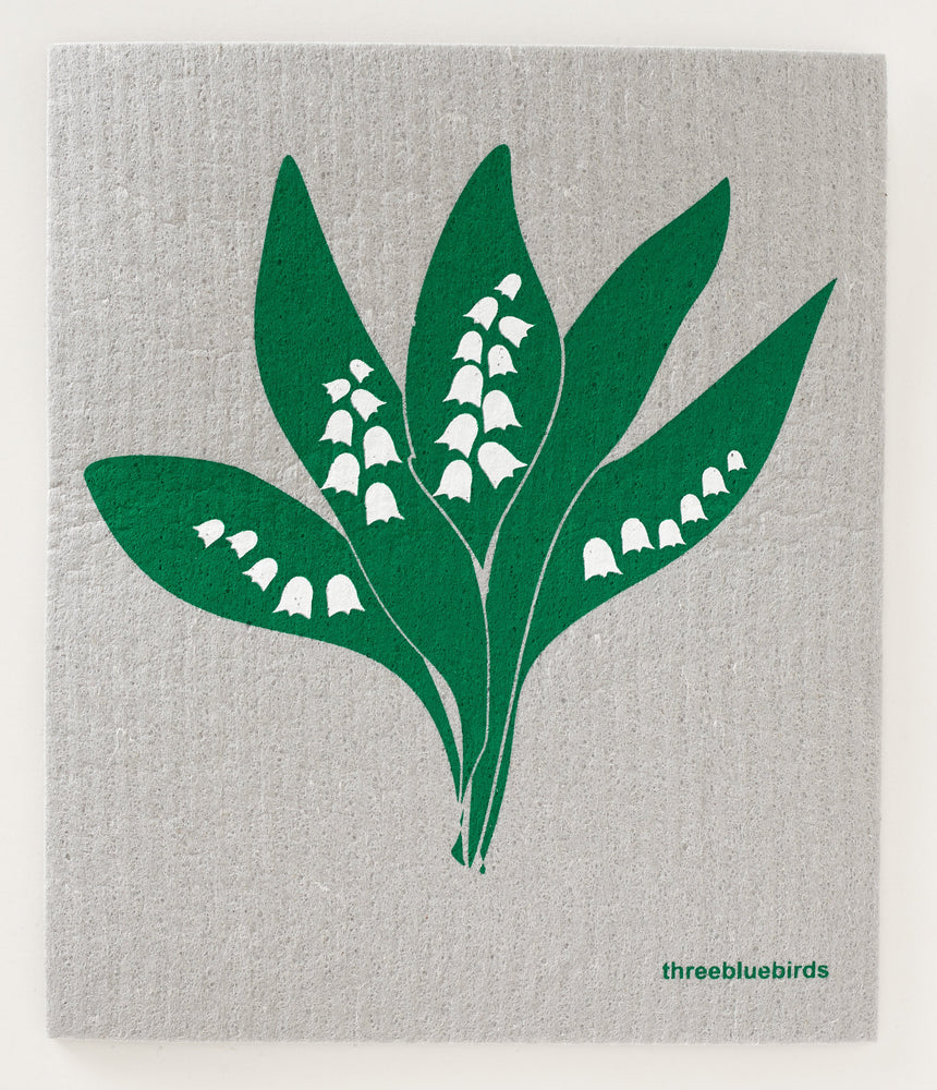 Lily of the Valley on Grey Swedish Dishcloth