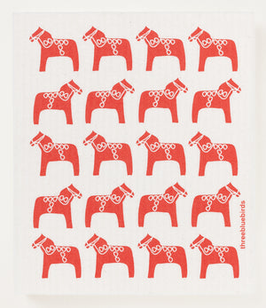 Load image into Gallery viewer, Red Dala Horse Swedish Dishcloth