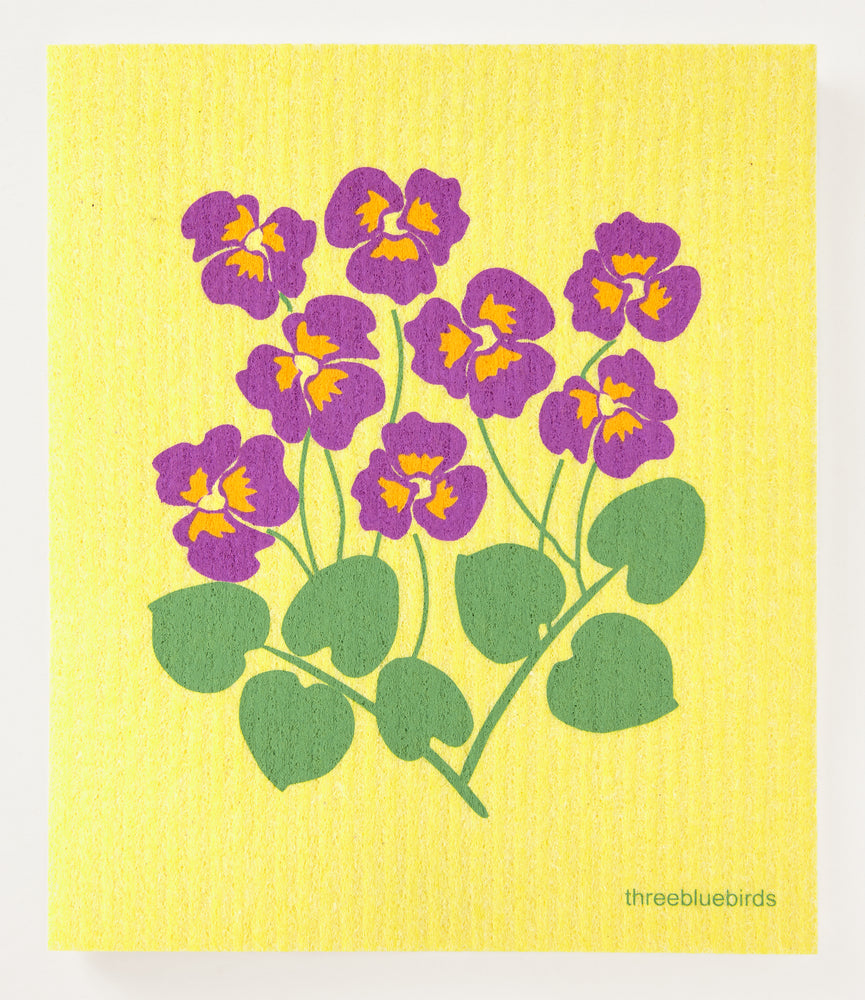 Pansies on Yellow Swedish Dishcloth