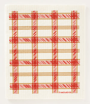 Red Plaid Swedish Dishcloth