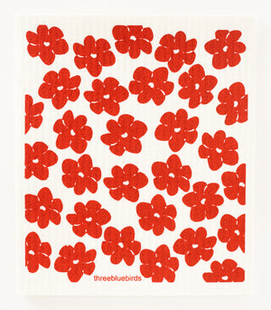 Red Poppies Swedish Dishcloth