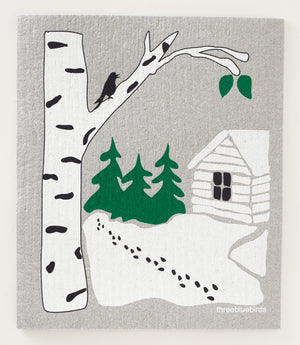 Snowy Cabin Swedish Dishcloth
