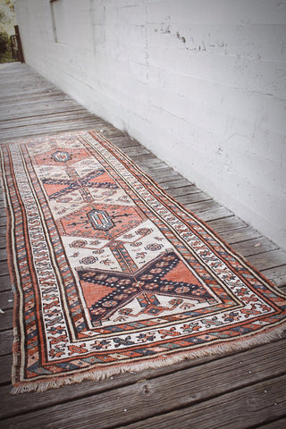 Antique Kurdish Kazak Runner