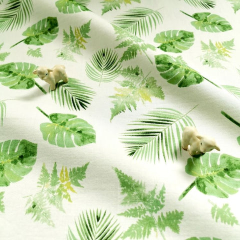 Leaf - green leaves botanic prints cotton fabric W:145cm FQ1812-03