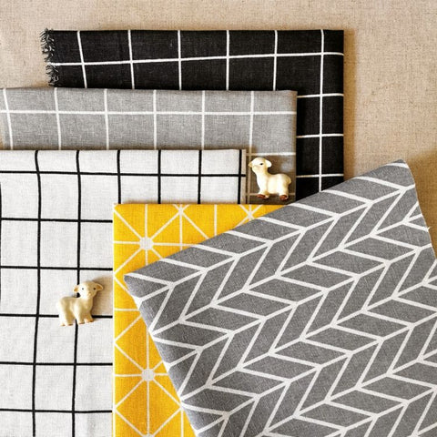 Geometric - grey & yellow basics linen fabric bundle 5FQs PK2006-04