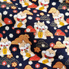 Japanese - blue navy metallic lucky cats & clouds cotton fabric W:145cm FQ1901-01