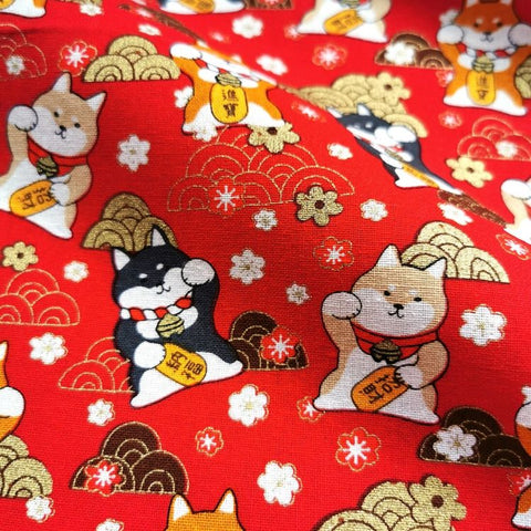 Japanese - red metallic lucky cats & clouds cotton fabric W:145cm FQ1901-03