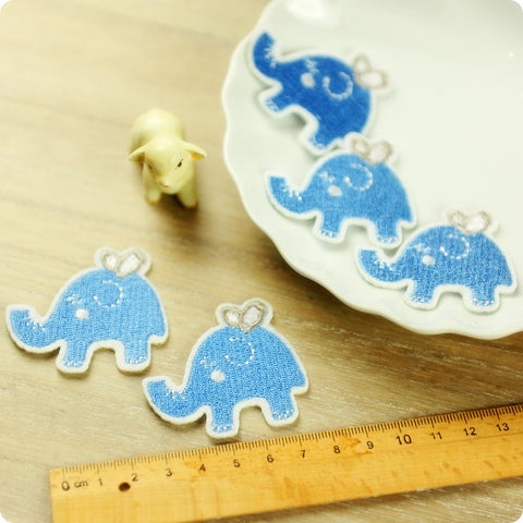 iron on applique - 2 x blue elephants