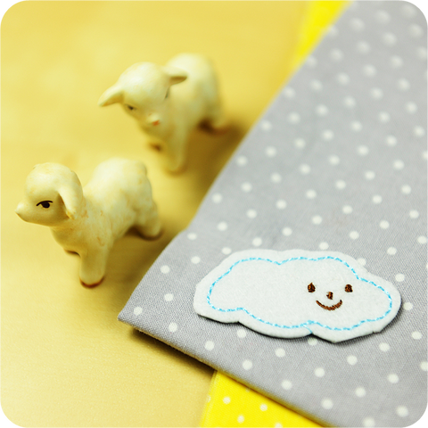Children iron on patch - 2 x cloud