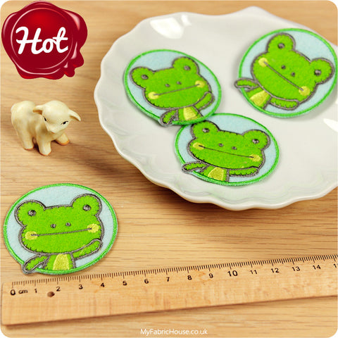 Children iron on patch - 2 x frog