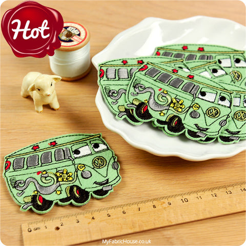 iron on applique - 2 x green camper vans