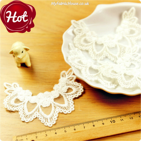 sew on lace applique - 2 x floral collar