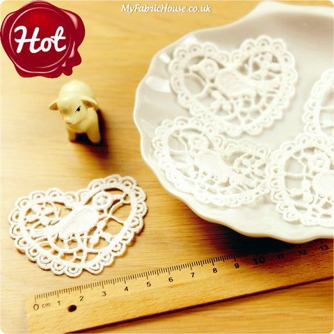sew on lace applique - 2 x bird hearts