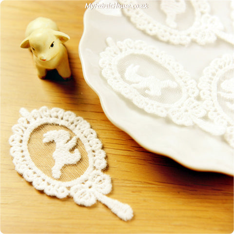 sew on lace applique - 2 x rabbit mirror