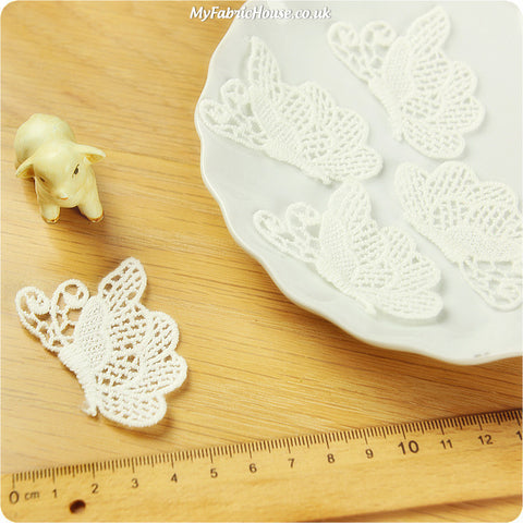 sew on lace applique - 2 x butterflies